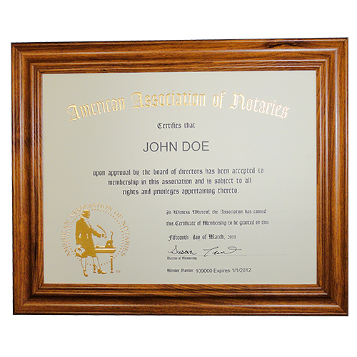 This Florida notary deluxe membership certificate frame allows you to show off your notary membership in one of the most prestigious notary associations in the U.S. The frame includes a gold embossed 8.5 x 11 inches certificate with AAN logo, your name, membership number, membership expiration date, and the signature of our membership director. This item may only be purchased by active members of the American Association of Notaries. </p></p></p></p></p>