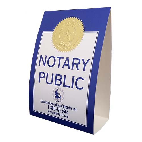 This is an economical paper tent version of our Florida display signs. Attractive, distinguishes you as a Notary Public.