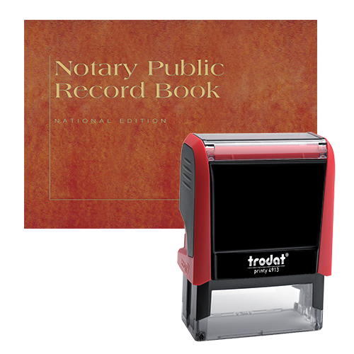 The Florida notary supplies value package contains everything you need, in accordance with Florida notary laws to perform your notarial duties correctly and efficiently. This notary supplies package includes Florida notary stamp item and Florida notary record Book. The notary stamp is available in several case colors and five ink colors, produces thousands of perfect and consistent notary stamp impressions, stamp-after-stamp, without the need for an ink pad or re-inking. The modern, ergonomic design of this stamp soft-touch exterior fits comfortably in your hand and with gentle pressure produces the sharpest Florida notary stamp impression with ease. An index label allows you to quickly identify your notary stamp and ensures a right-side-up impression. A clear base positioning window guarantees accurate placement of your notary stamp on documents. With the click of a button, the ink pad - which is built into the notary stamp - can easily be accessed for changing or refilling.