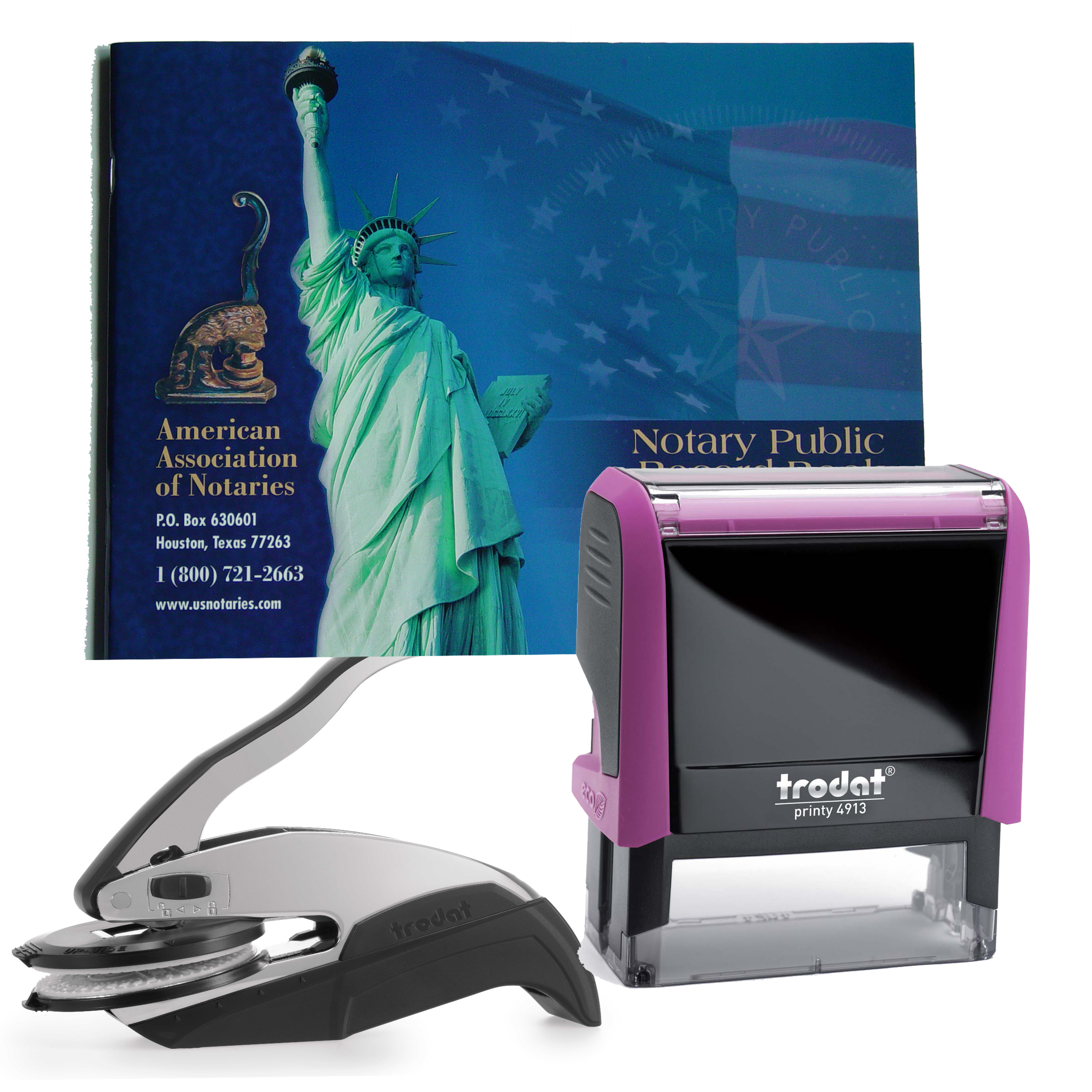 Florida Notary Supplies Deluxe Package - Trodat P4 Stamp and Choice of EZ OR Dual-use Embosser